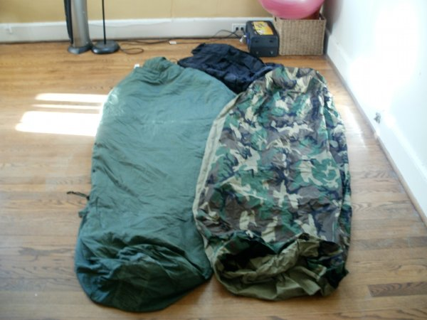 Gore-Tex bivy sack, summer patrol bag, and stuff sack.